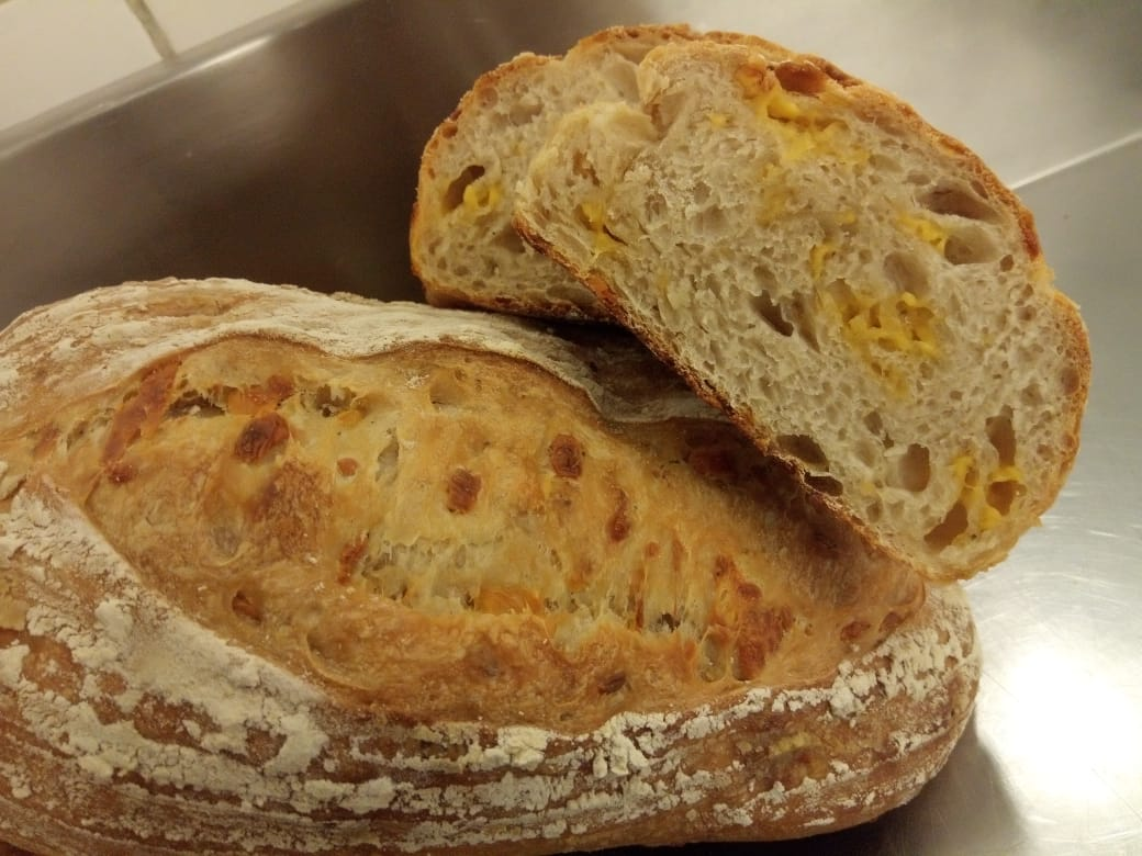 Sourdough spicy cheese and fresh herb