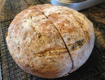 whole wheat boule with seeds