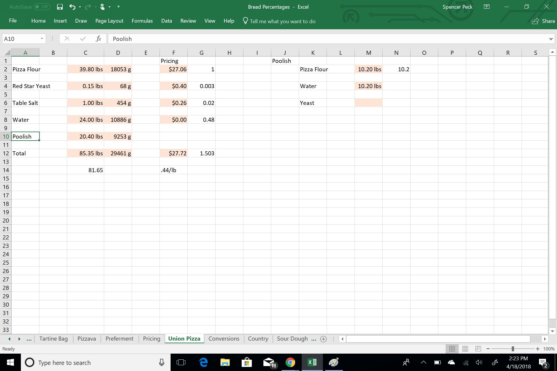 Screenshot of spreadsheet with poolish numbers