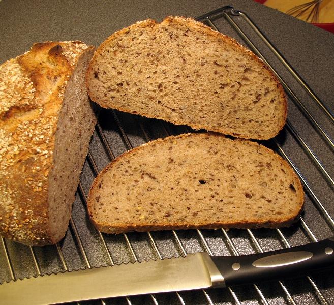 Flax seed rye bread crumb