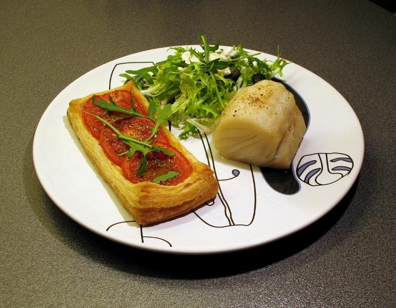 Tomato flan with salt cod