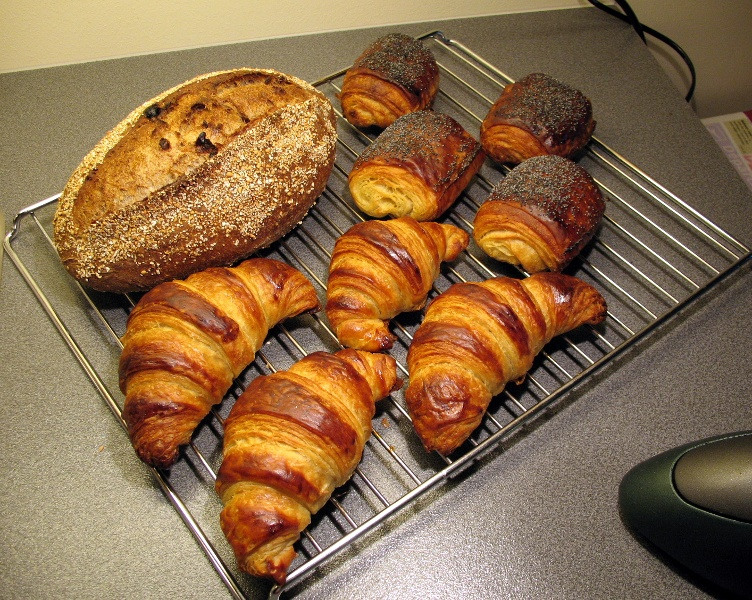 Fruit and nut levain and croissants