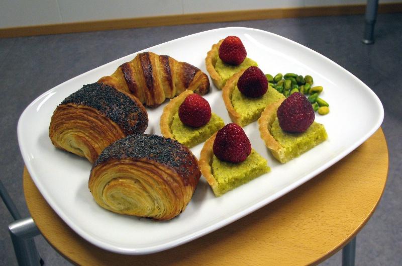 Pistachio frangipane tarts and tebirkes
