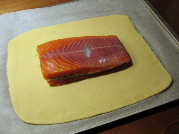 Salmon on puff pastry