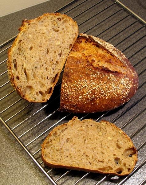 Seeded pain au levain crumb
