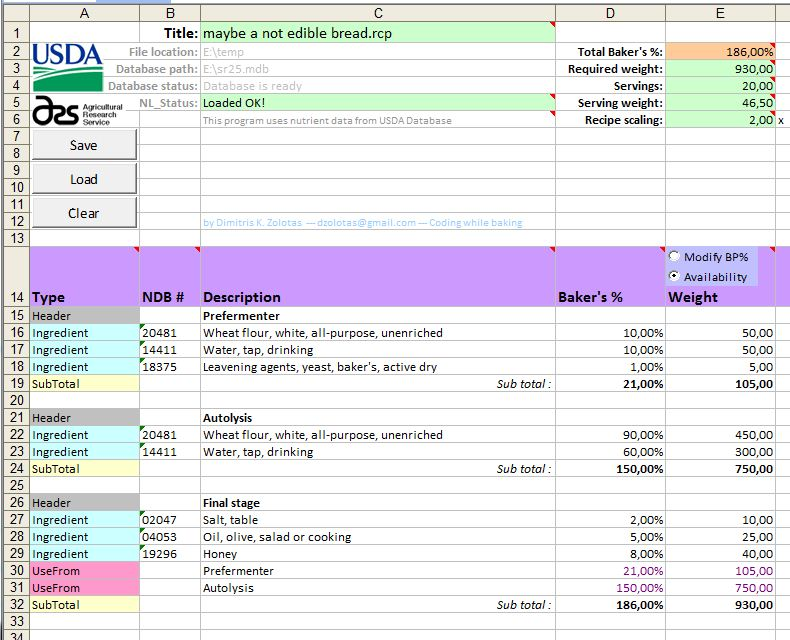 A Recipe Tool With Nutrient Data From Usda Database The