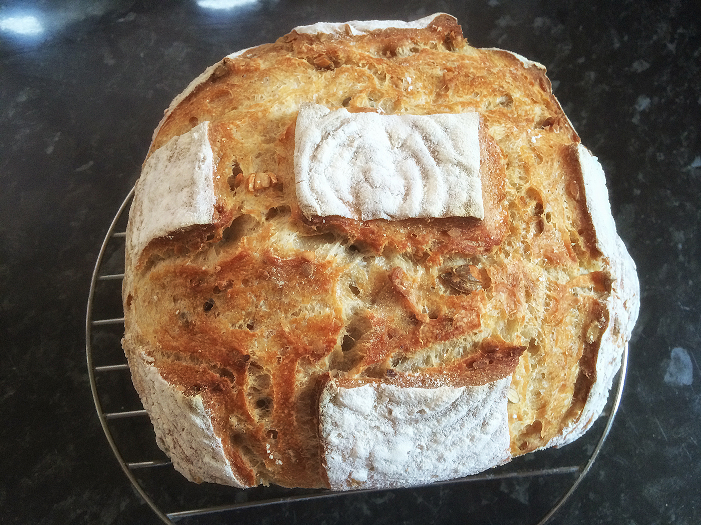 Sourdough Wheat And Wholemeal Bread With Pumpkin