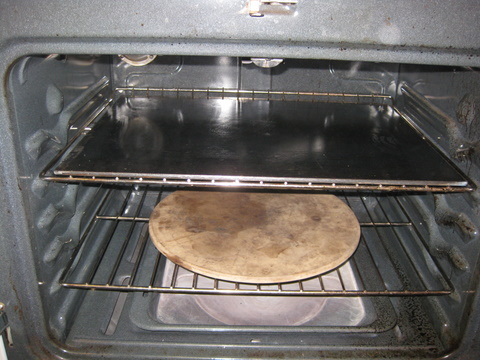 steel plate, in oven on rack