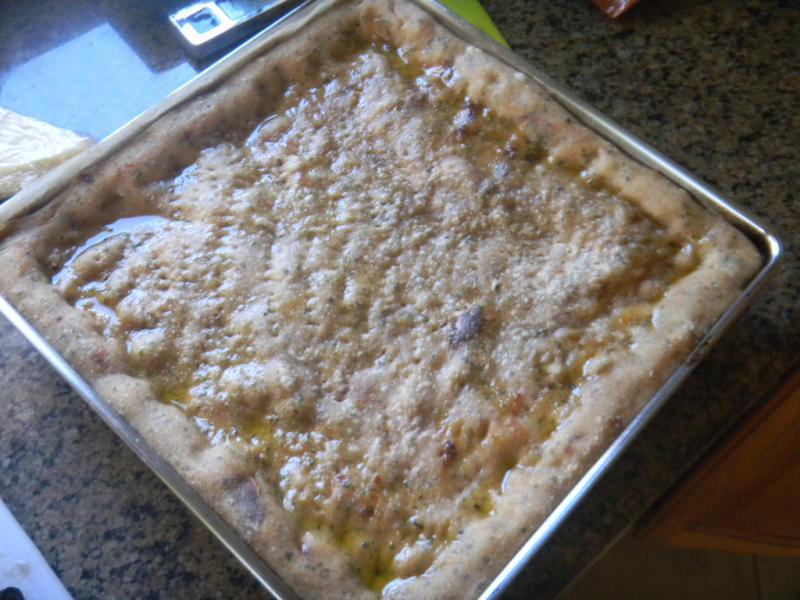 Pesto and Sun Dried Tomato Multigrain Pizza Focaccia   The Fresh Loaf