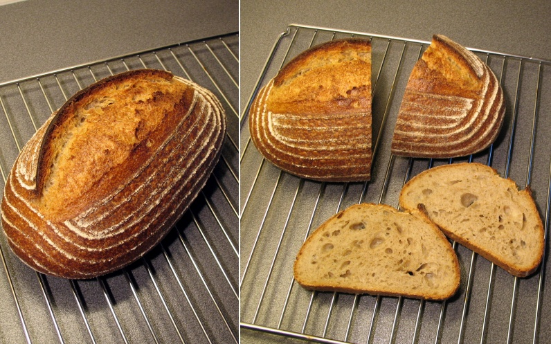 Pain au levain with whole-wheat flour