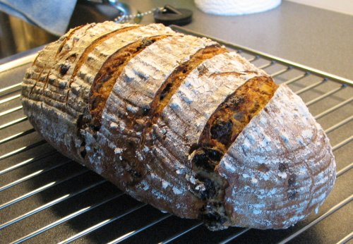 Sourdough rye with toasted hazelnuts and raisins