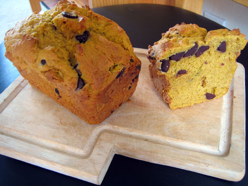 pumpkin bread on cutting board