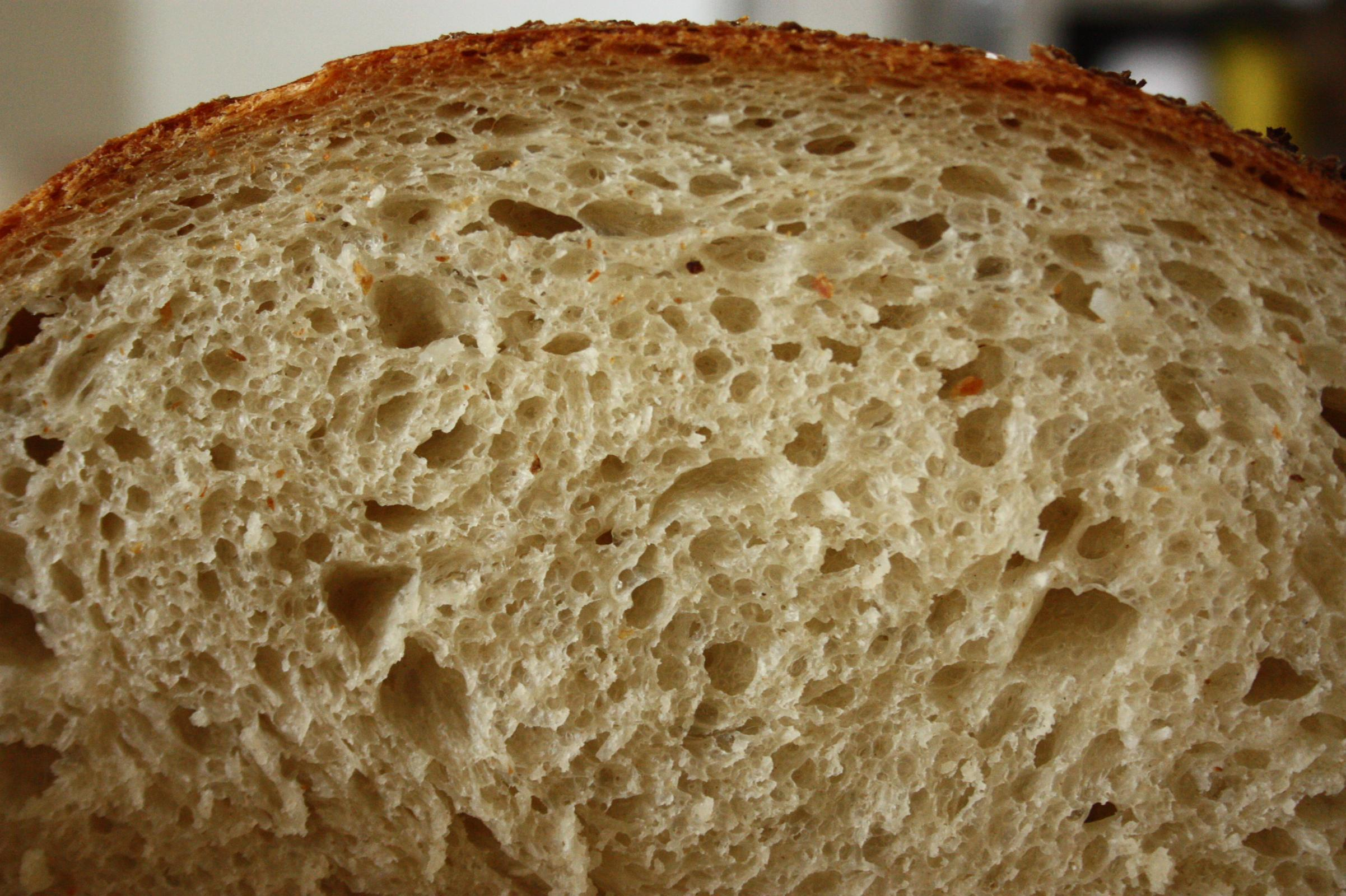 Crumb close up, natural light colour was a little more white than this