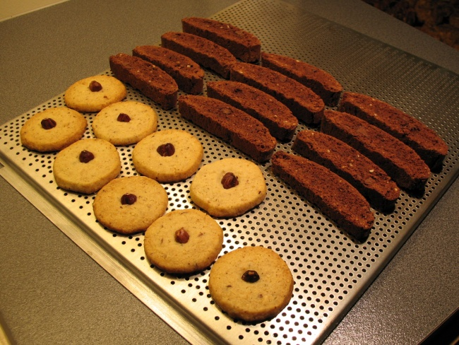 Hazelnut butter cookies and double chocolate biscotti
