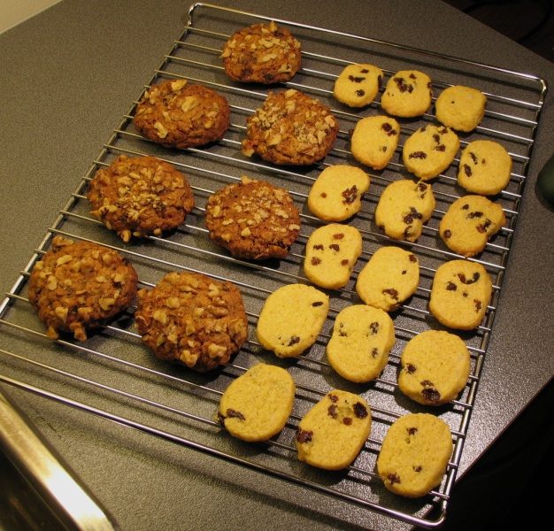 Oat and date chews and cornmeal-raisin cookies